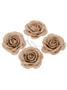 4 roses en jute 5cm