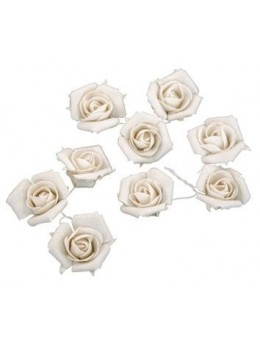 9 roses lin blanc 2.8cm