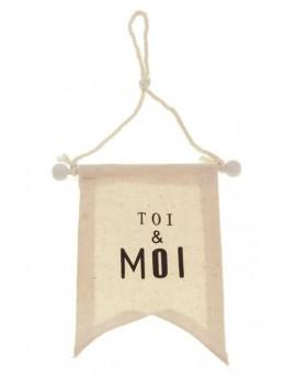 """Fanion tissu à suspendre """"Toi & Moi"""""""
