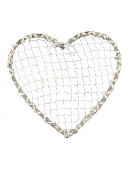 Déco coeur rotin et métal à suspendre 40cm