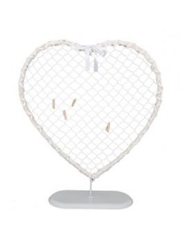 Déco coeur rotin blanc et métal sur pied 40cm