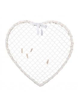 Déco coeur rotin blanc et métal à suspendre 40cm