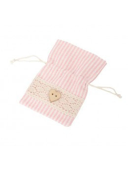 4 sacs lin rayé rose pastel