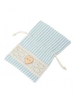 4 sacs lin rayé bleu pastel