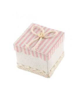 4 contenants carrés à rayures rose pastel