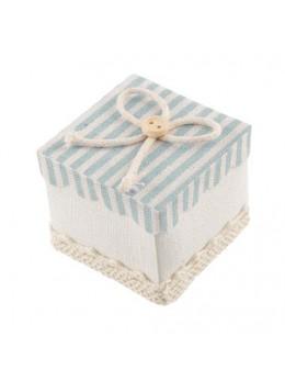 4 contenants carrés à rayures bleu pastel