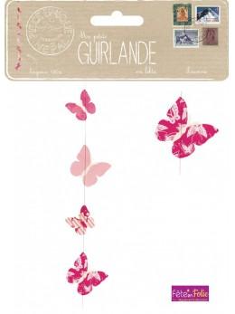 Guirlande lokta papillons pink