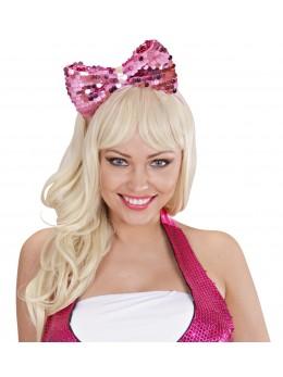 Serre tête headband noeud rose paillette