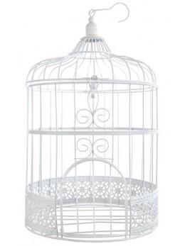 Tirelire cage blanc vintage 31cm