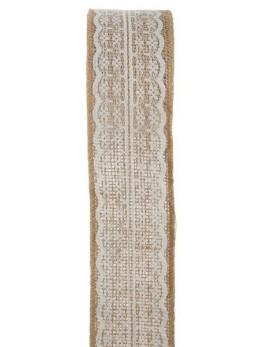 Ruban jute avec dentelle ivoire 5cmx2m