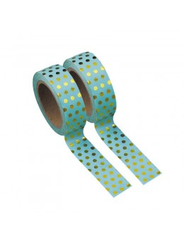 Washi tape turquoise à pois or