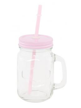 Mini Jar en verre avec paille rose