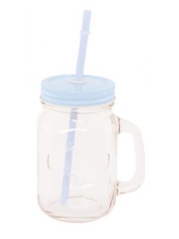 Mini Jar en verre avec paille bleu