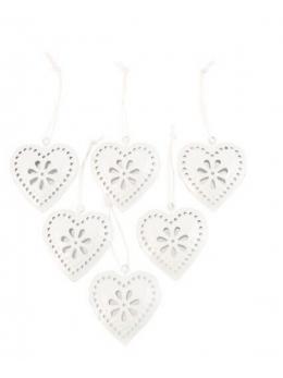 Set 6 coeurs à suspendre métal blanc