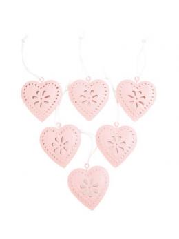 Set 6 coeurs à suspendre métal rose pastel