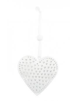 Coeur à suspendre métal blanc