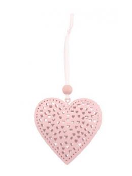 Coeur à suspendre métal rose pastel