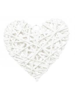 Coeur en rotin blanc 25cm
