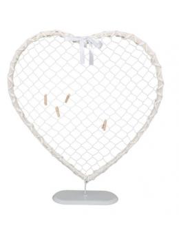 Déco coeur rotin blanc et métal sur pied 50cm