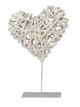 Déco coeur rotin naturel sur pied métal 25cm