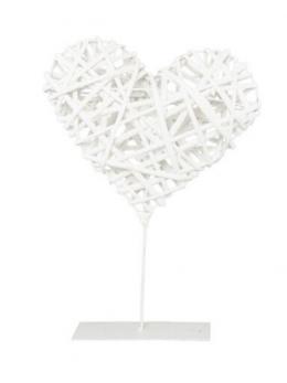 Déco coeur rotin blanc sur pied métal 25cm