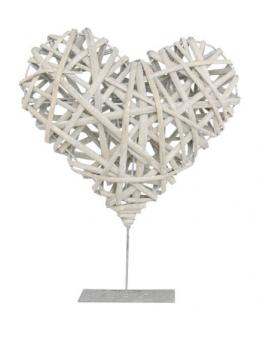 Déco coeur rotin naturel sur pied métal 35cm