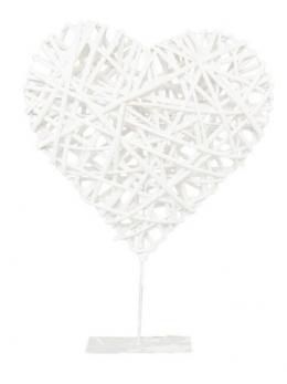 Déco coeur rotin blanc sur pied métal 35cm