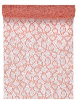 Chemin de table dentelle mat corail