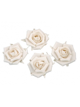 Set 4 roses lin blanc 5.5cm