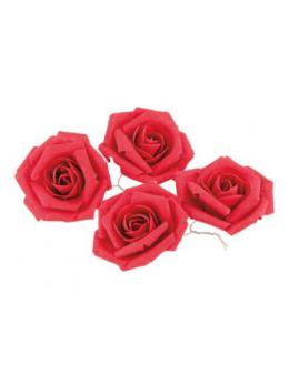 Set 4 roses lin rouge 5.5cm