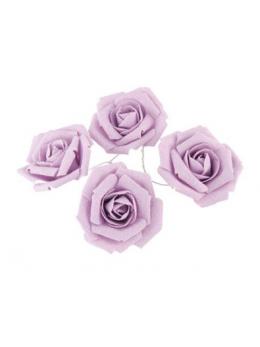 Set 4 roses lin parme 5.5cm