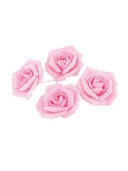 Set 4 roses lin rose pastel 5.5cm