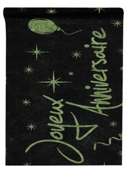 Chemin de table Joyeux Anniversaire vert pailleté