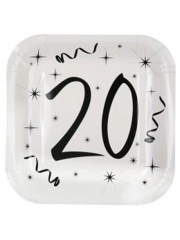10 assiettes carton anniversaire 20 ans