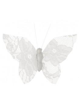 papillons dentelles blanc