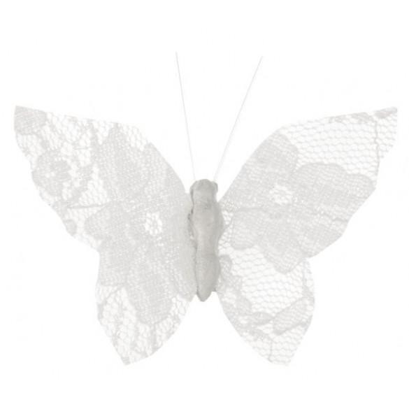 4 Papillons dentelles blanc sur clip