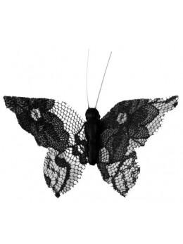 4 Papillons dentelles noire sur clip