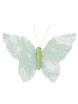 4 Papillons dentelles menthe sur clip