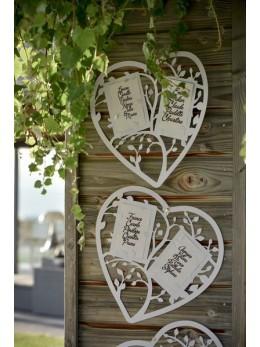Plan de table mariage coeur blanc