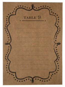 Plan de table numéros kraft