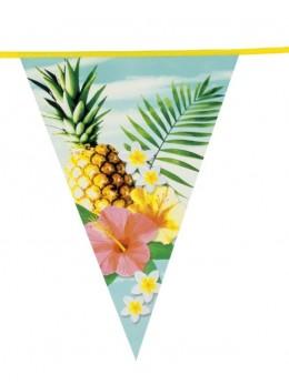 Guirlande fanion exotique ananas et hibiscus