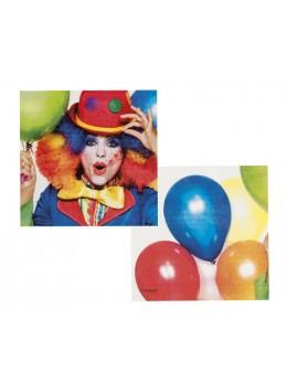 12 serviettes anniversaire ballons et clown