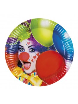 8 assiettes motif clown Cirque