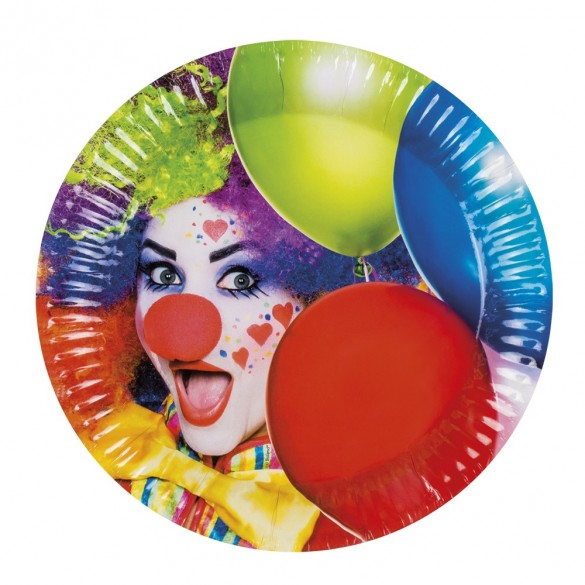 6 assiettes clown et ballons