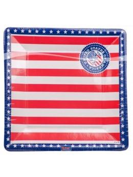 8 Assiettes carrées USA 25cm