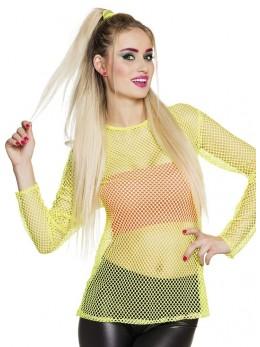 Tee shirt résille jaune fluo