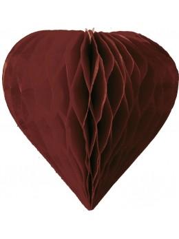 3 mini coeur papier alvéolés 8cm chocolat