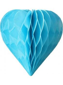 3 mini coeur papier alvéolés 8cm bleu ciel