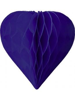 3 mini coeur papier alvéolés 8cm Bleu roi