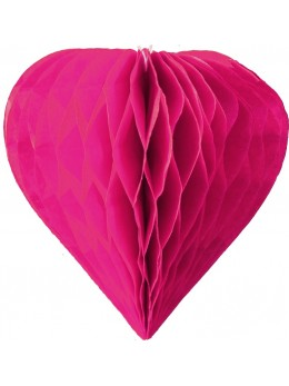 3 mini coeur papier alvéolés 8cm fuchsia